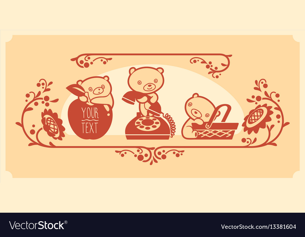 Woodland animals and decor elements set three vector image