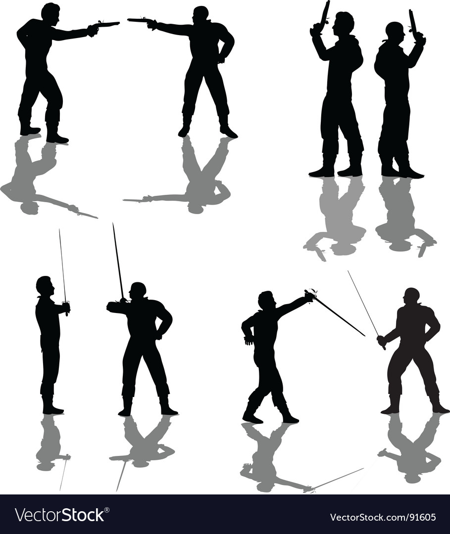 Duelist silhouettes vector image