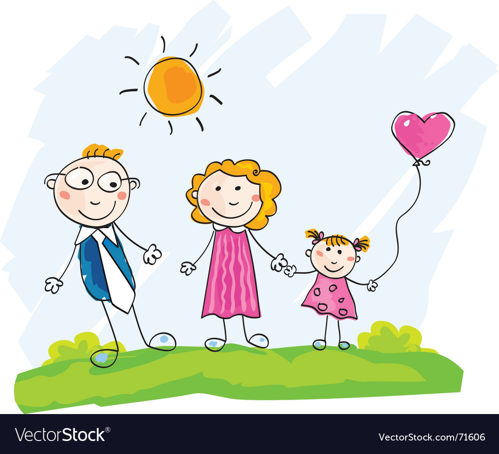 Doodle happy family vector image