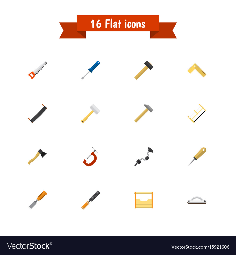 Set of 16 editable instrument flat icons includes vector image