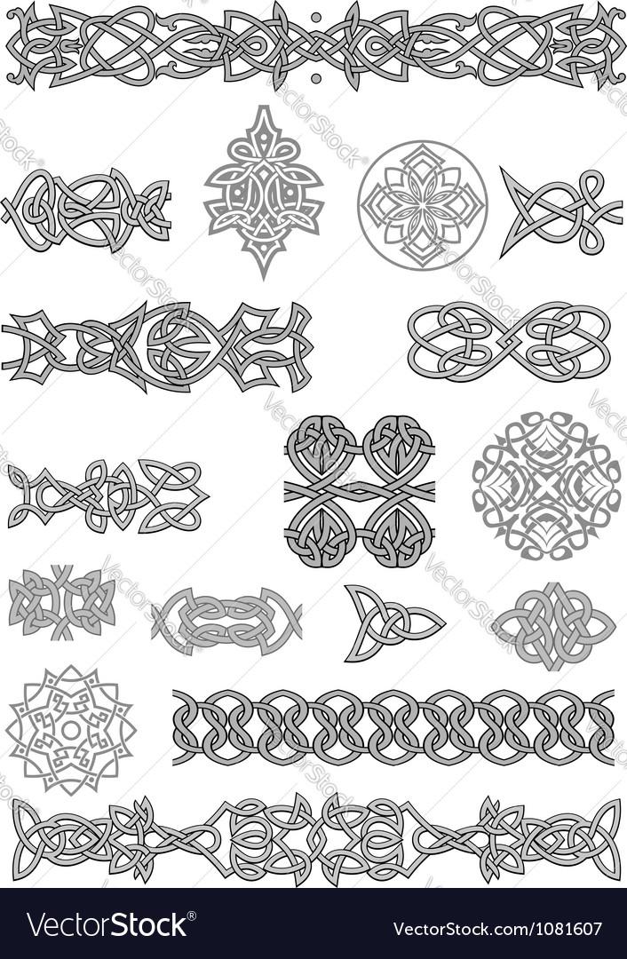 Celtic ornaments and patterns set for embellish vector image