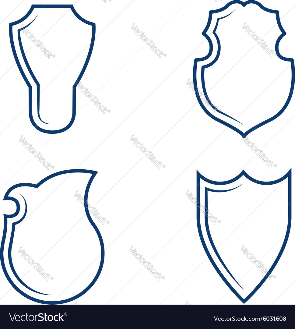 Heraldic shield shapes vector image