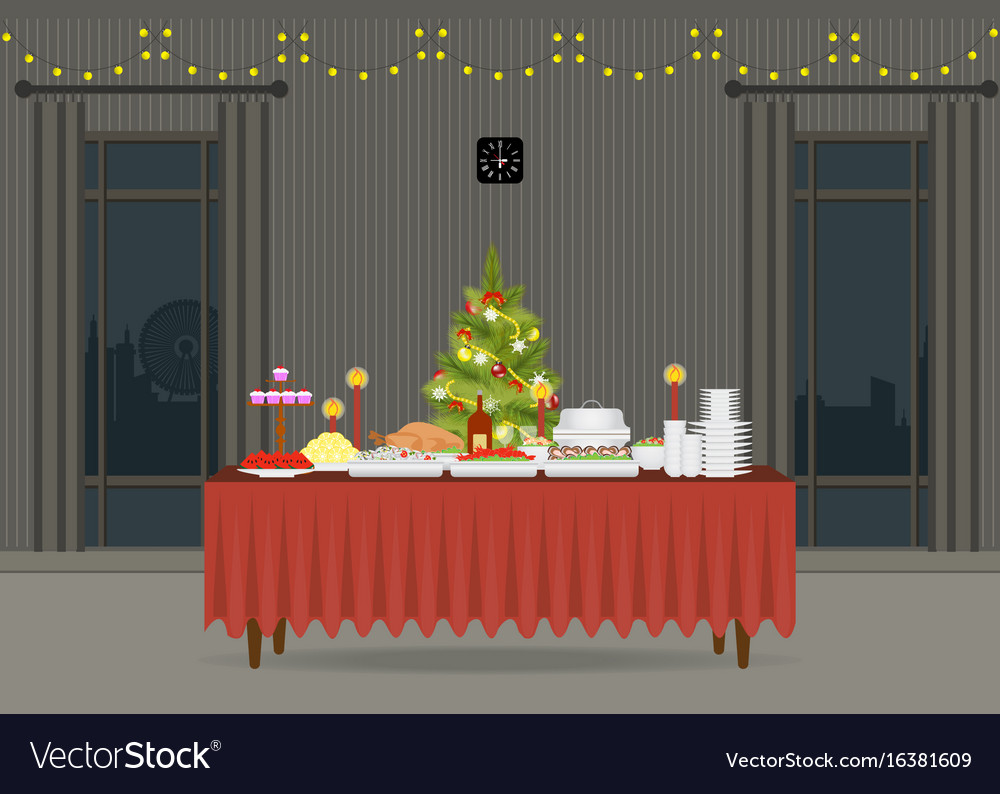 Christmas food on the table decorating with vector image