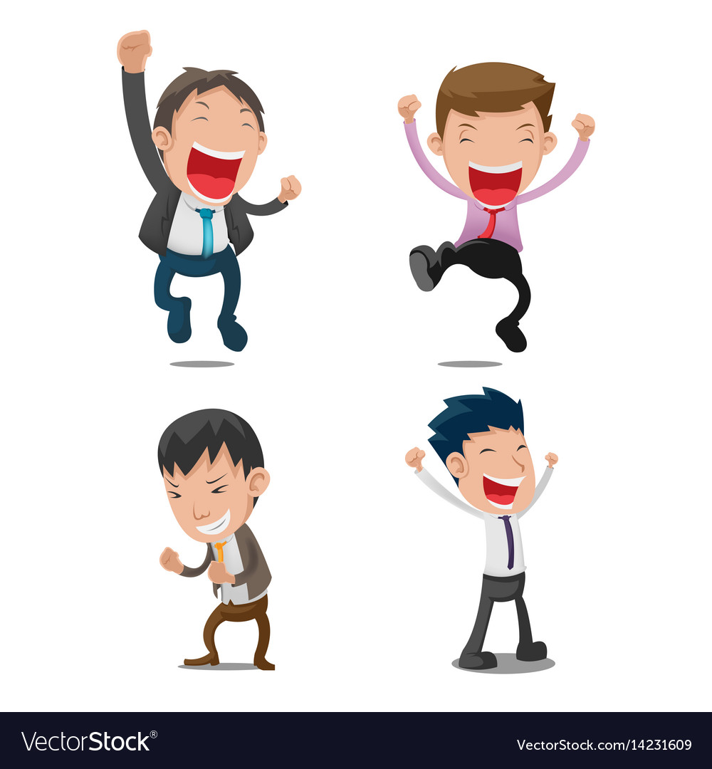 Man cartoon happy jump set vector image