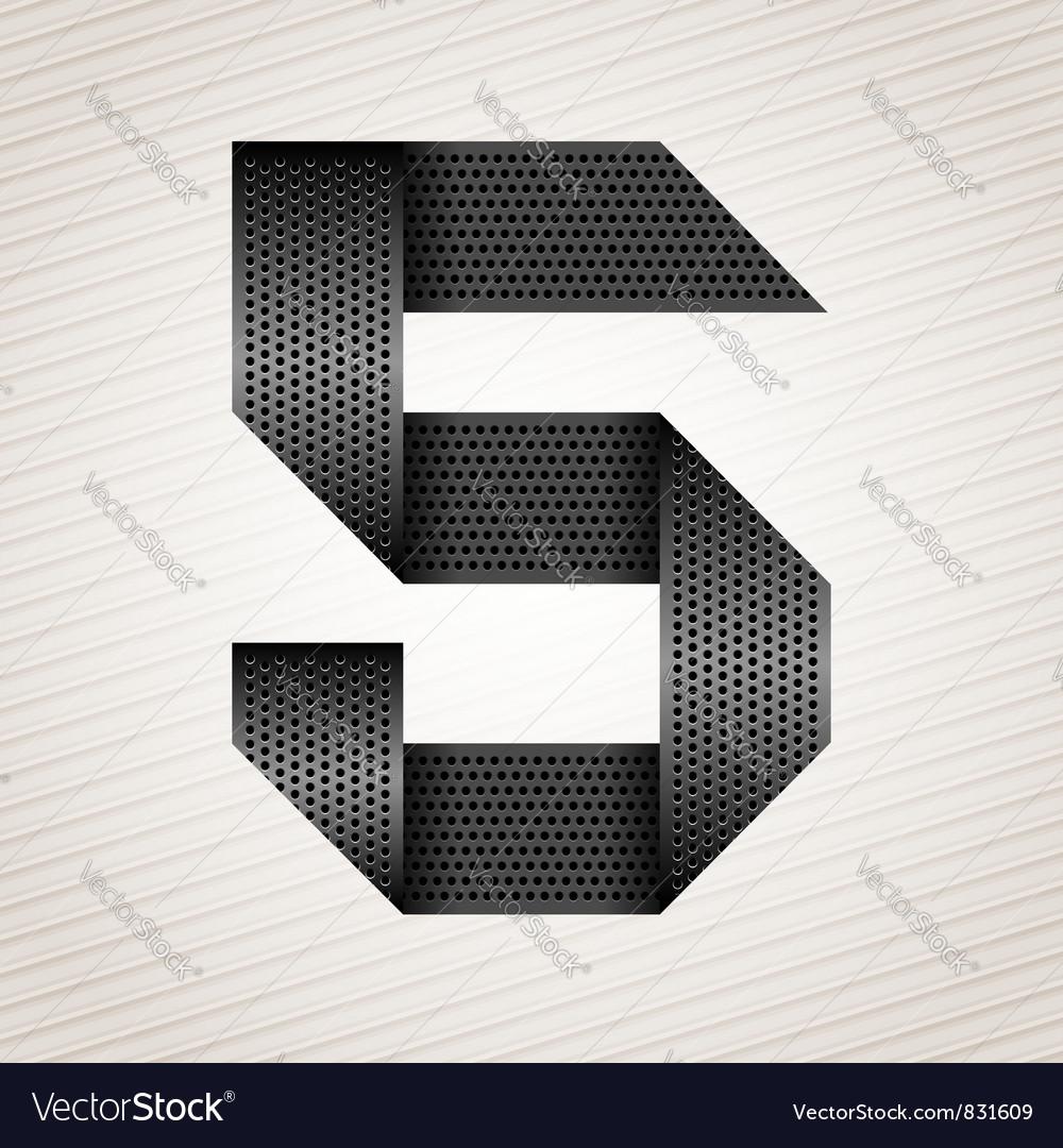 Number metal ribbon - 5 - five vector image