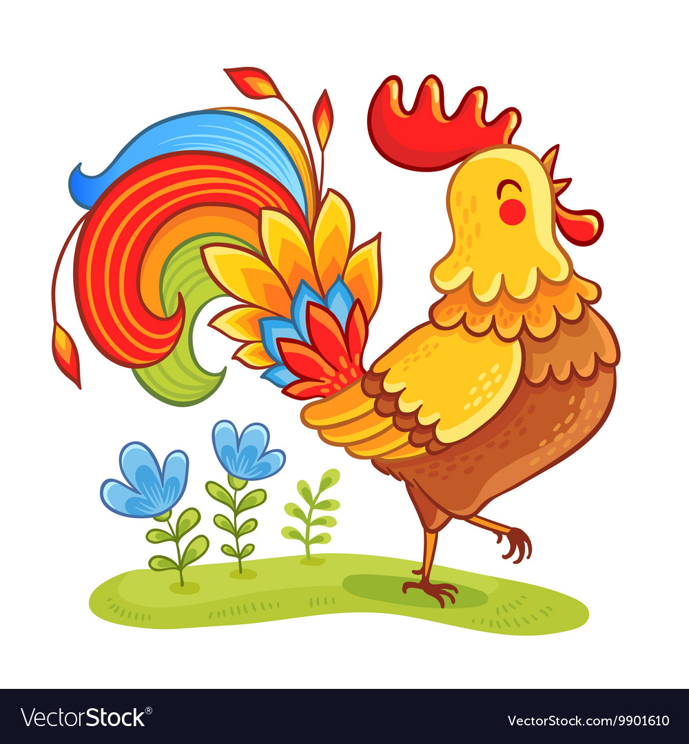 cute cartoon rooster royalty free vector image