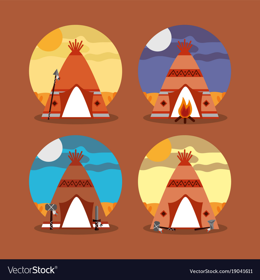 Four teepee home native american with landscape vector image