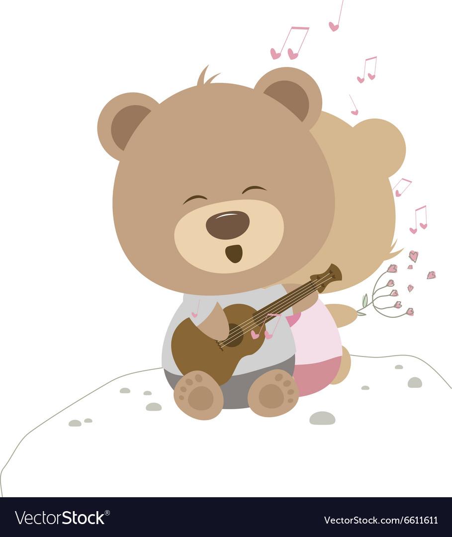 Love concept of couple teddy bear doll sing a song vector image