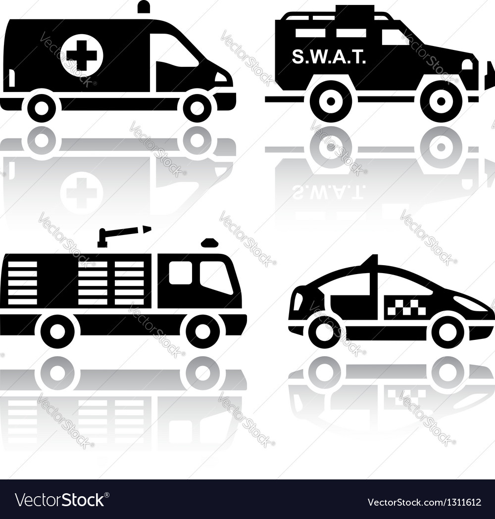 Set of transport icons - Rescue vector image