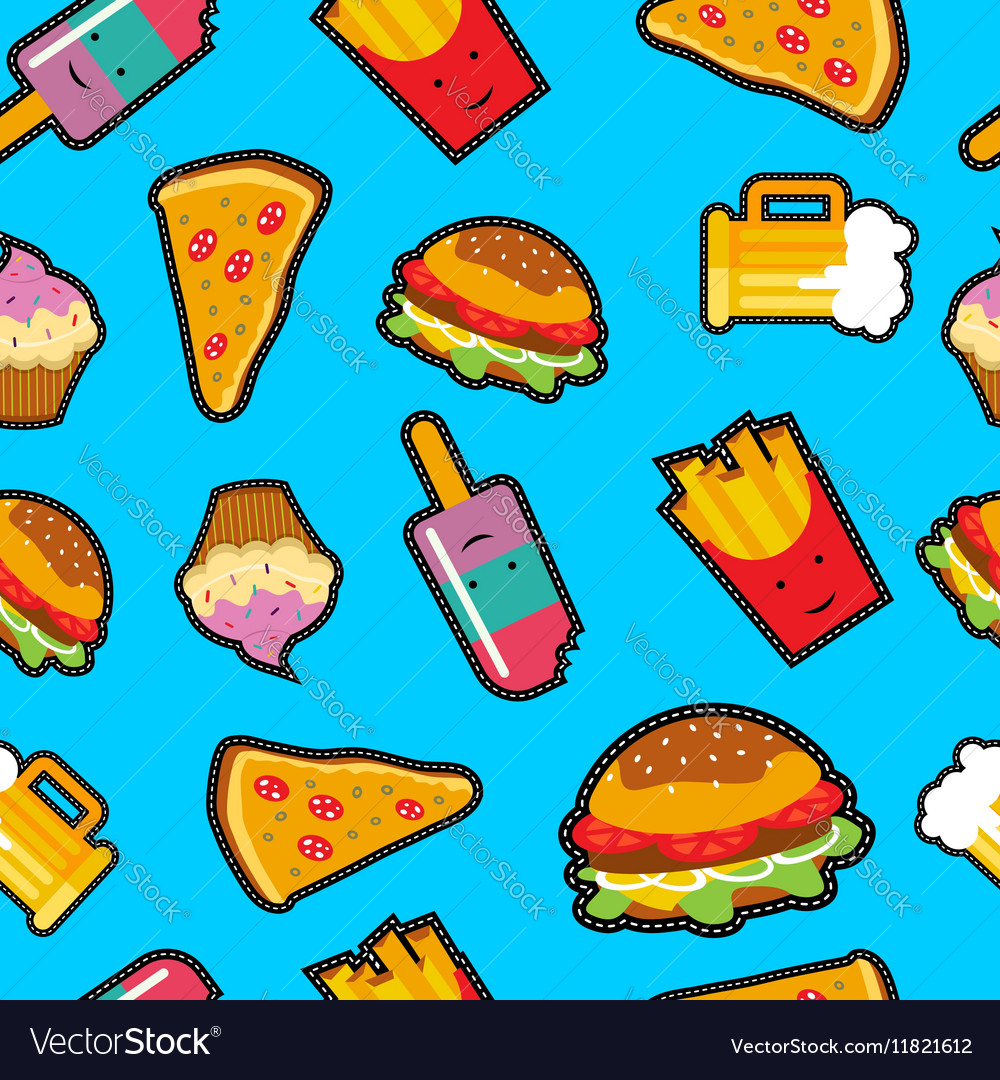 Fast food background with cute cartoon elements vector image