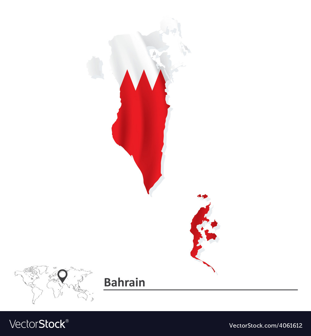 Map Of Bahrain With Flag Royalty Free Vector Image - Bahrain map vector