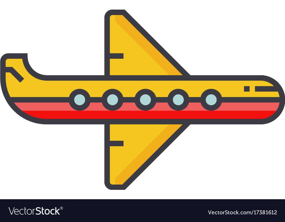 Plane flat line concept vector image