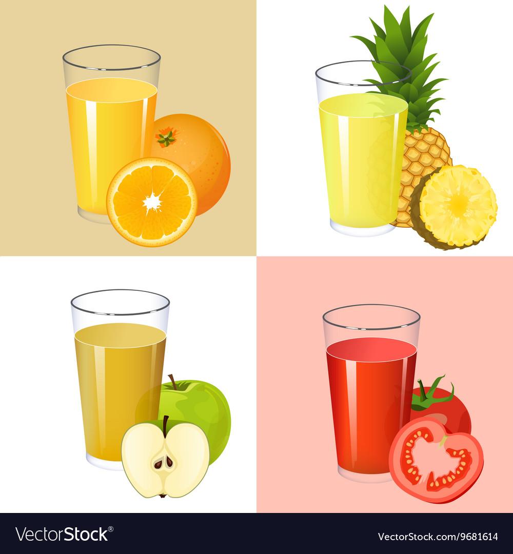 Set of fresh juices Realistic transparent glasses vector image
