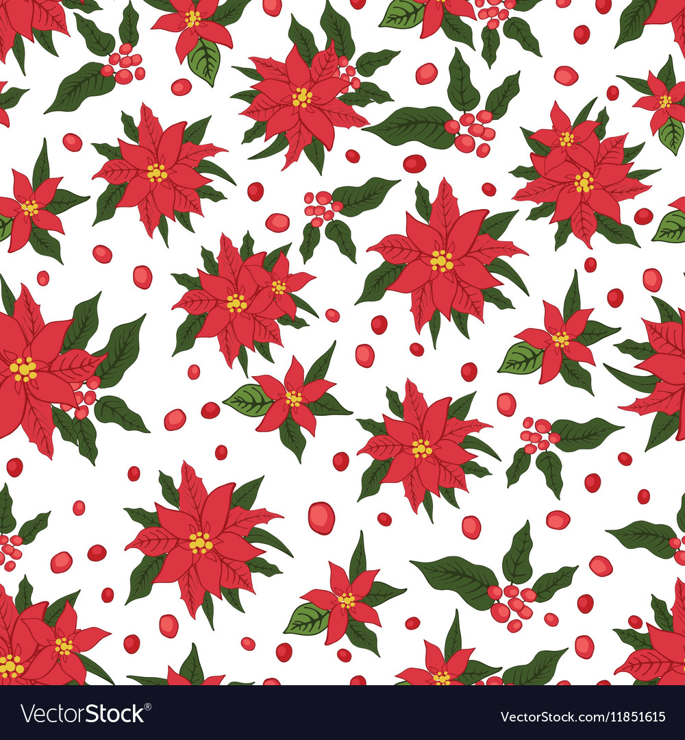Christmas seamless patternRed Poinsettia flowers vector image