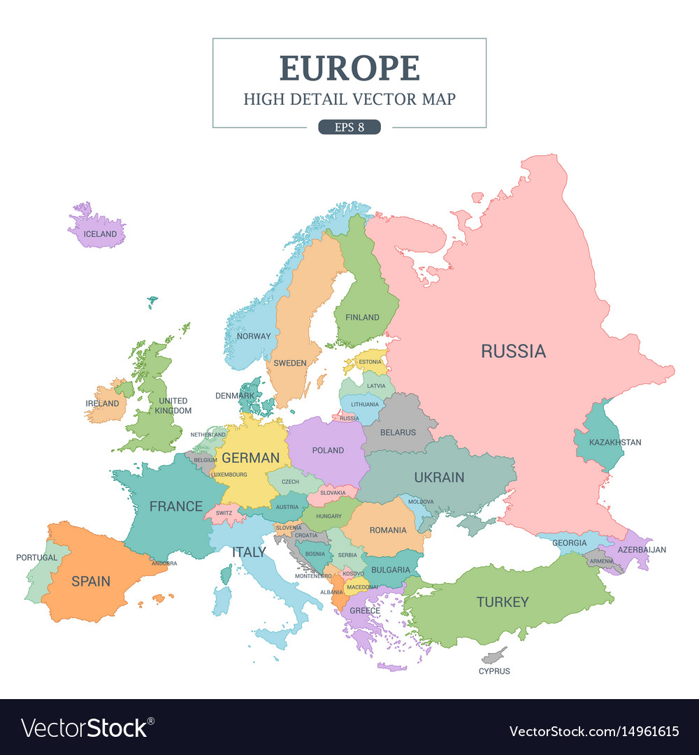 Europe Map High Detail Separated All Countries Vector Image - Map of all countries
