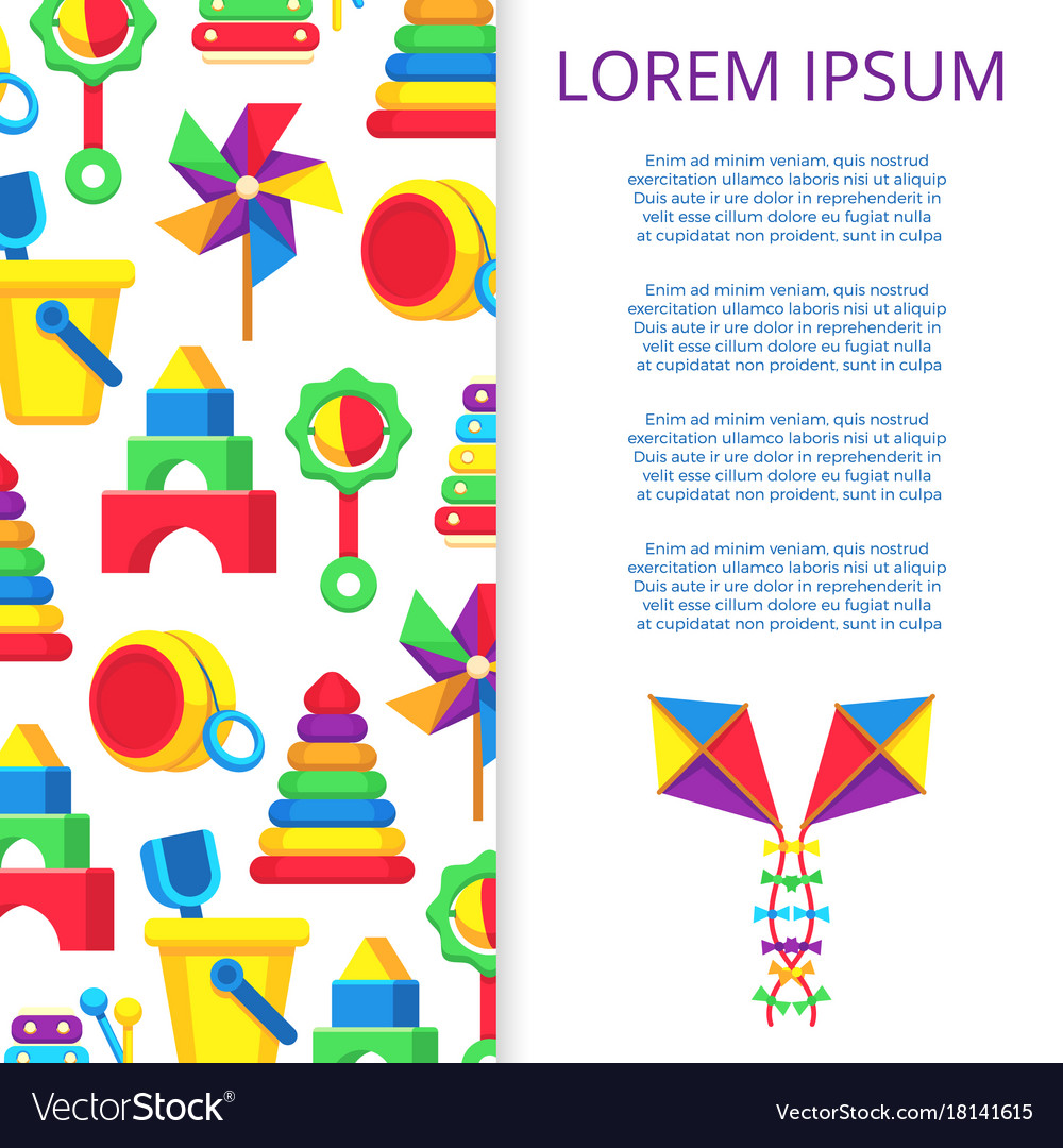 Kids toys banner or poster design vector image