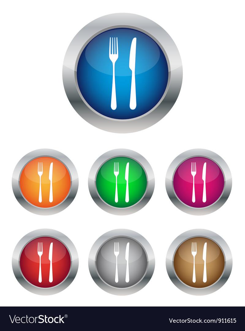 Restaurant button vector image