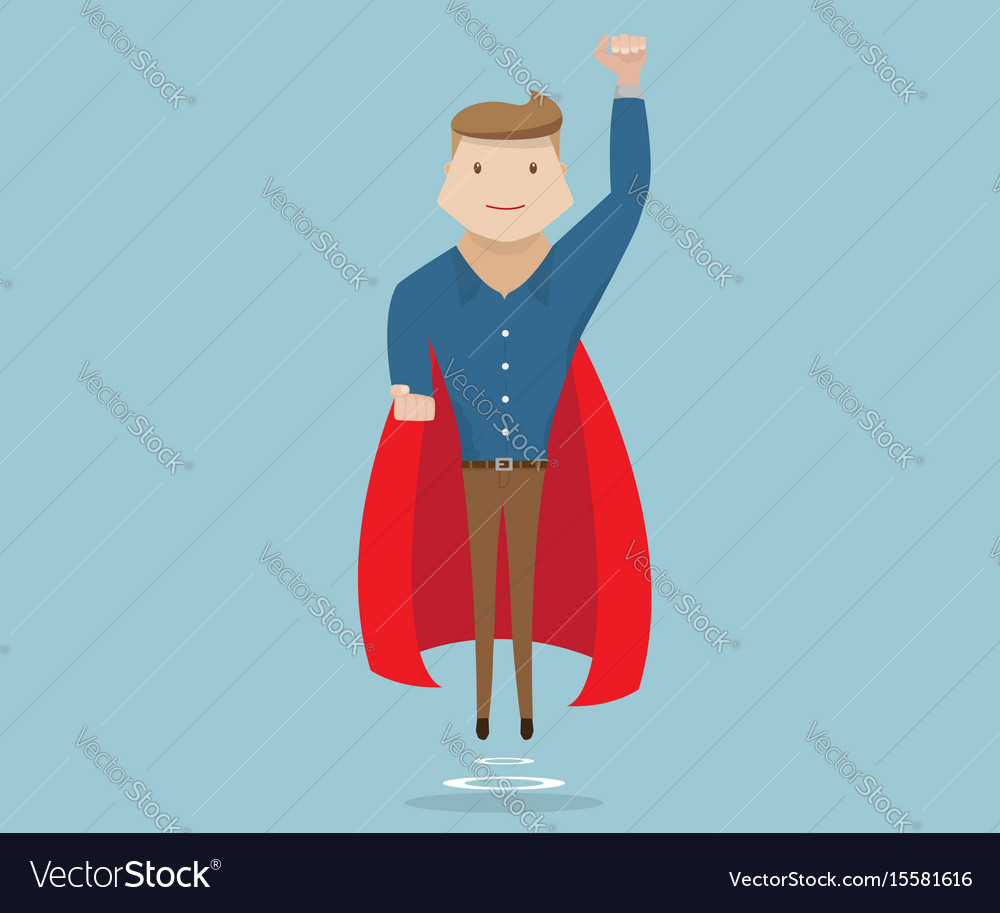 Businessman flying with red cape vector image