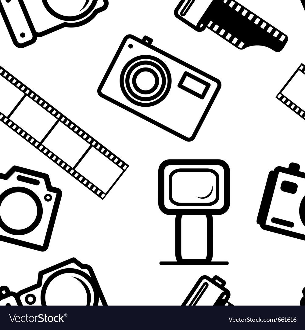 Seamless background of digital cameras tripod film vector image