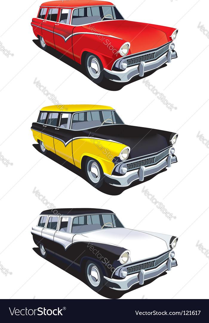 American retro station wagon vector image