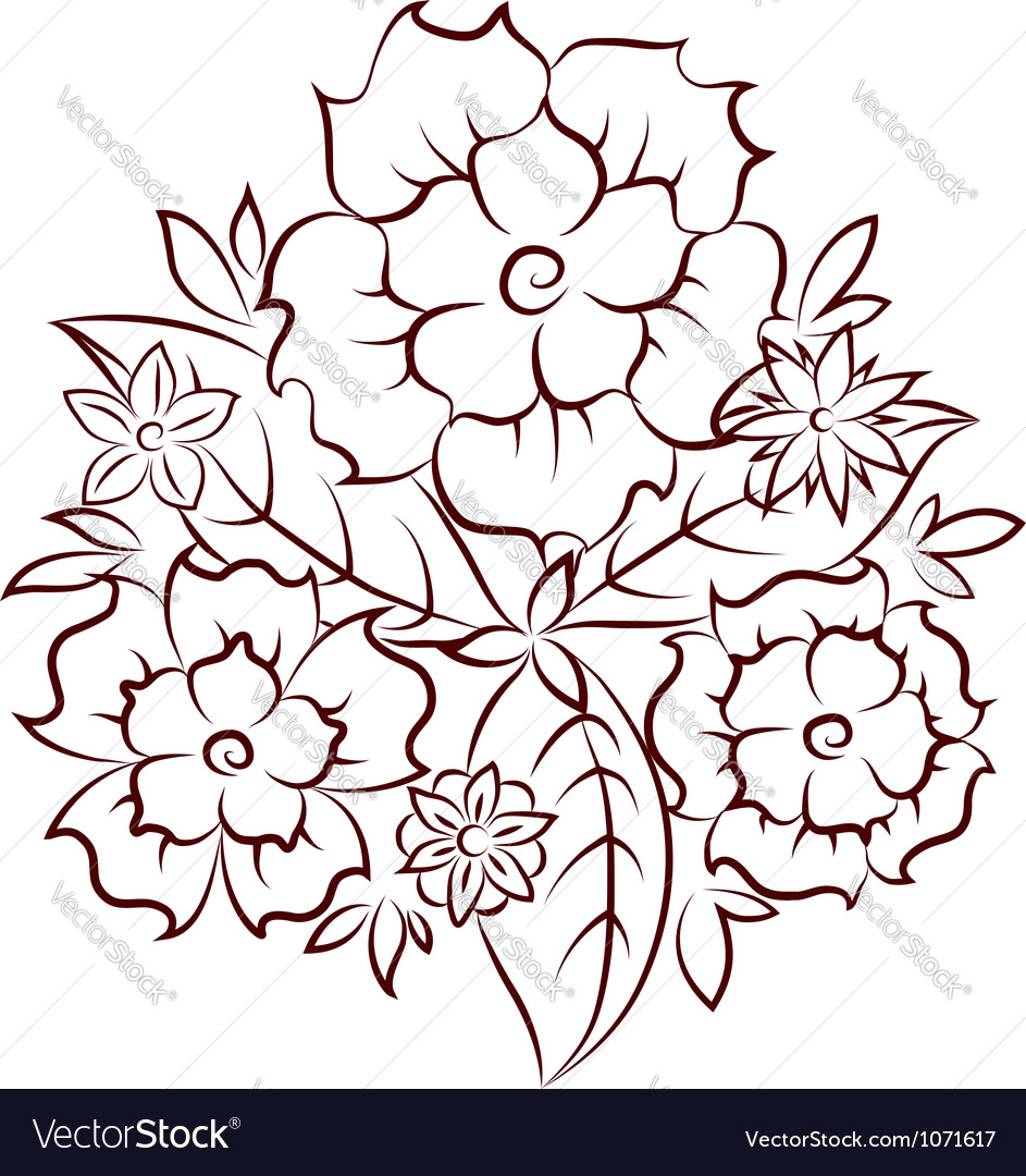 Flowers silhouette vector image