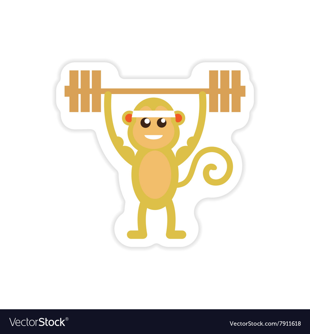 Stylish paper sticker on white background monkey