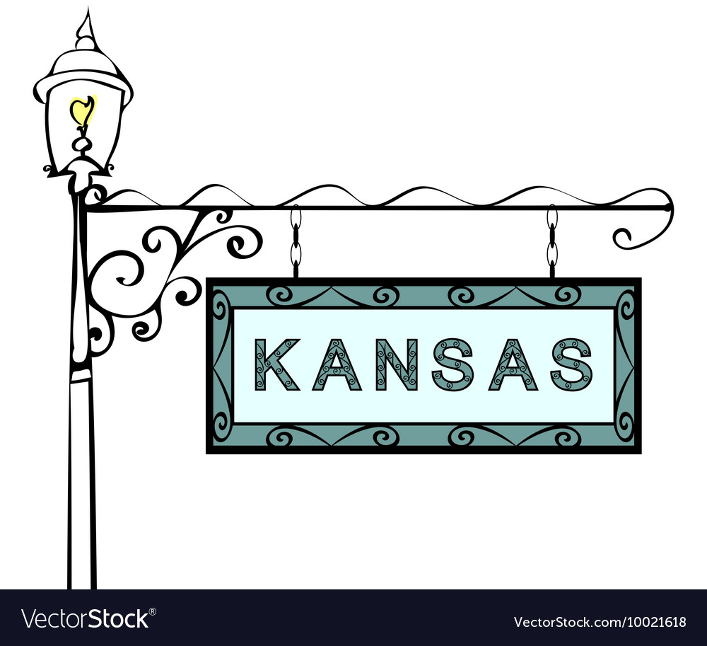Kansas retro pointer lamppost vector image