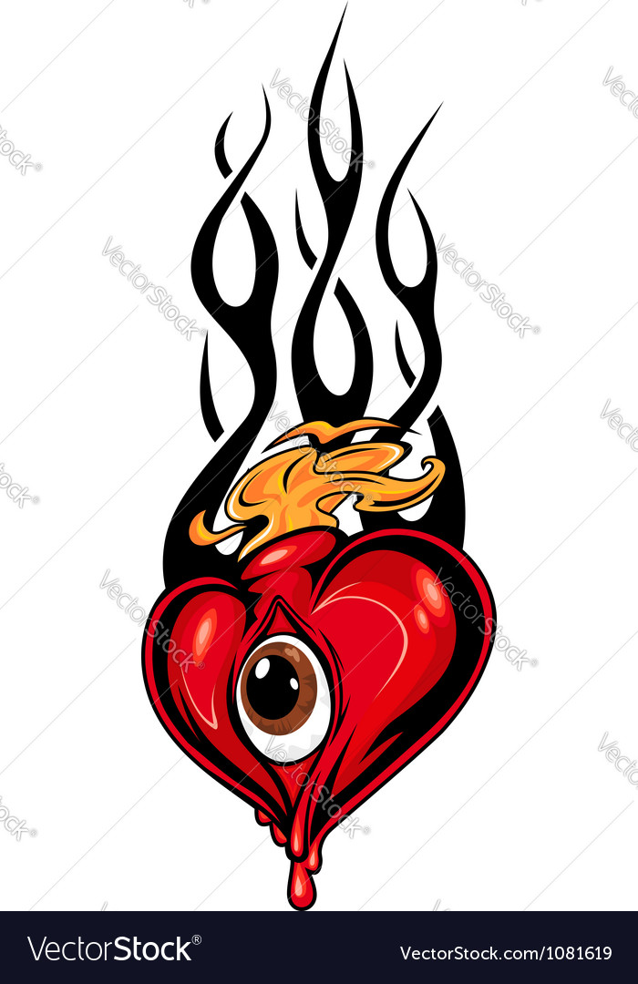 Heart tattoo or mascot with eye and tribal flames vector image