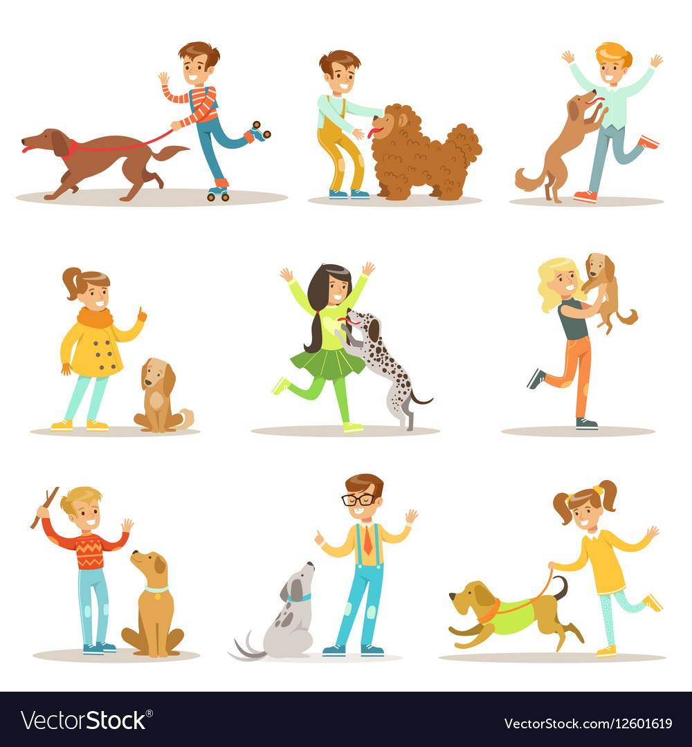 Children And Dogs Set With Kids vector image