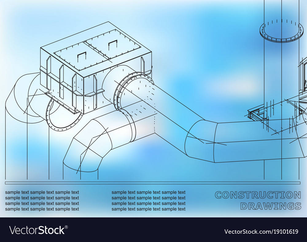 Drawings of steel structures pipes 3d blueprint vector image drawings of steel structures pipes 3d blueprint vector image malvernweather Images