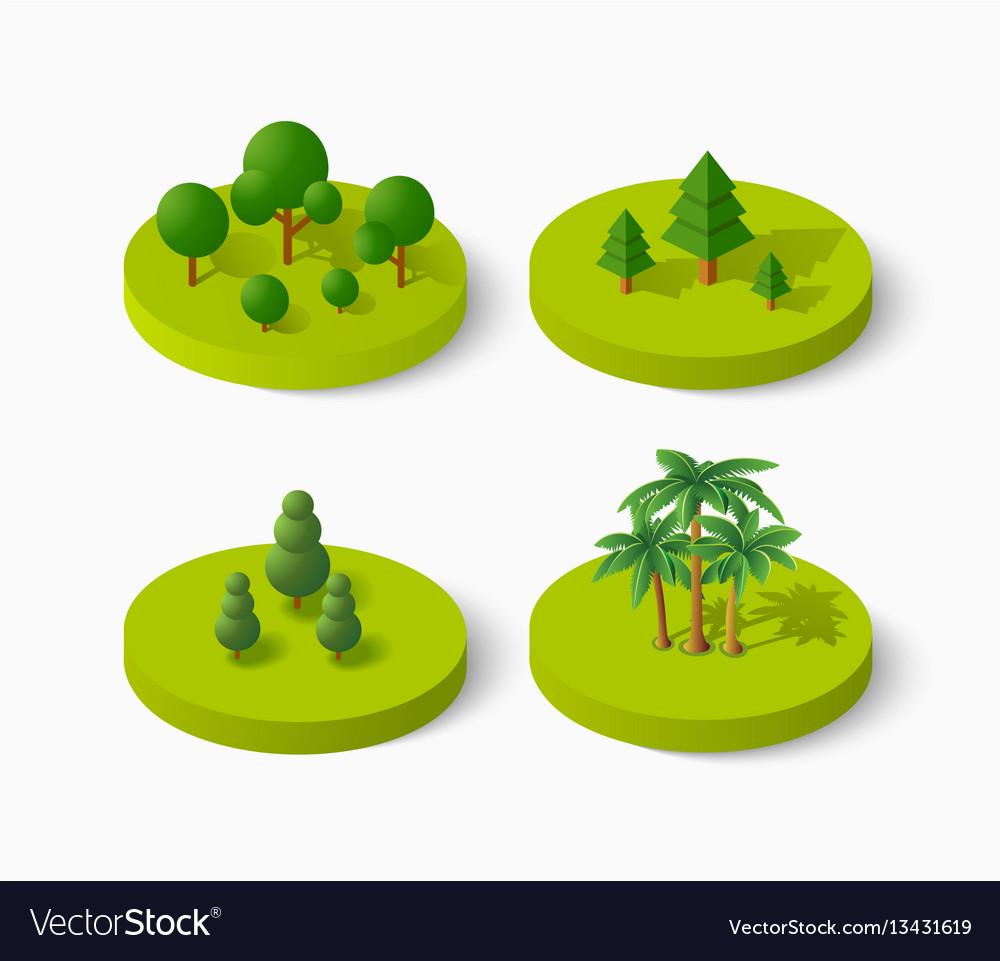 Isometric tree icon set vector image