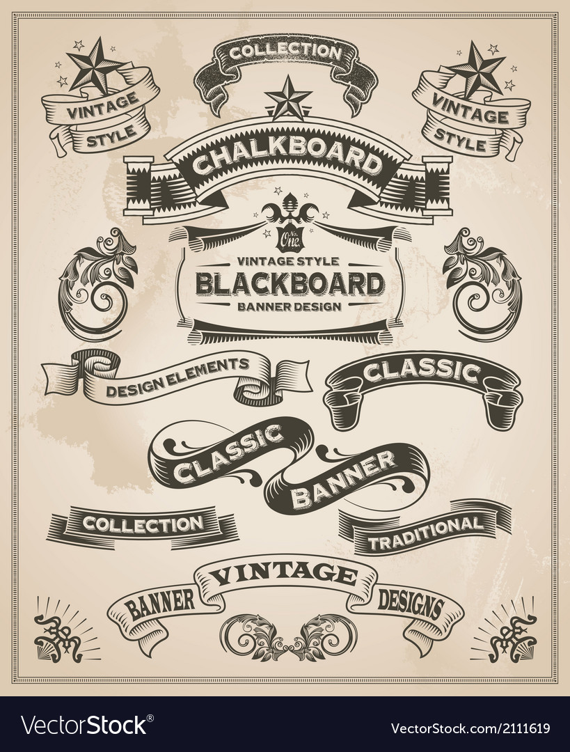 Vintage hand drawn calligraphic banner designs vector image