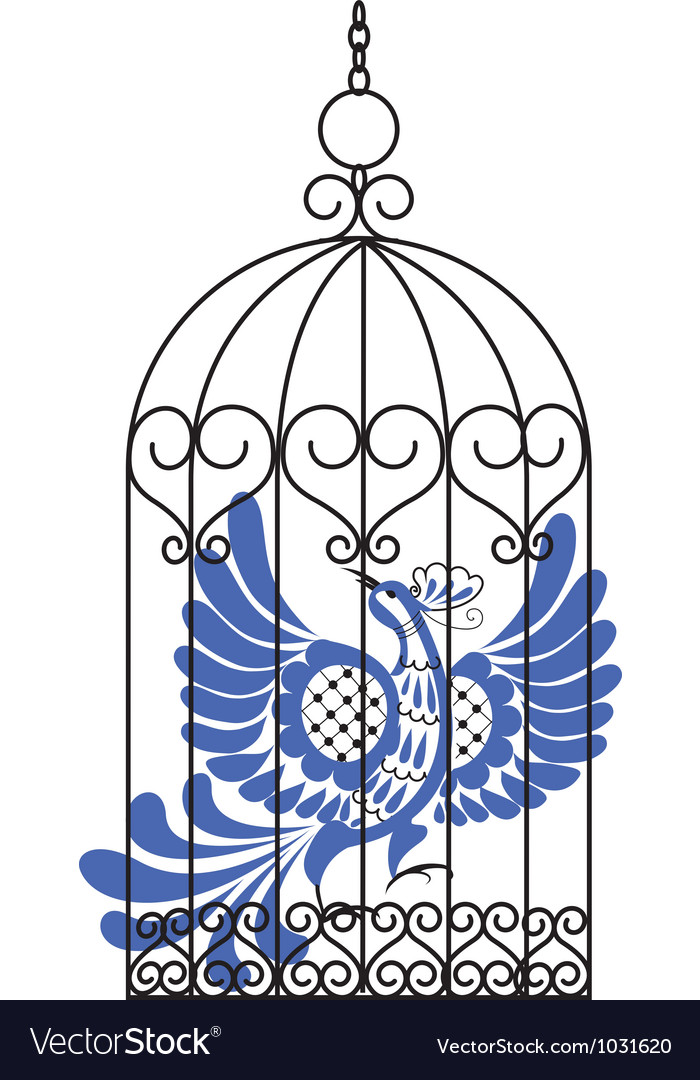 Antique bird cage with bird vector image