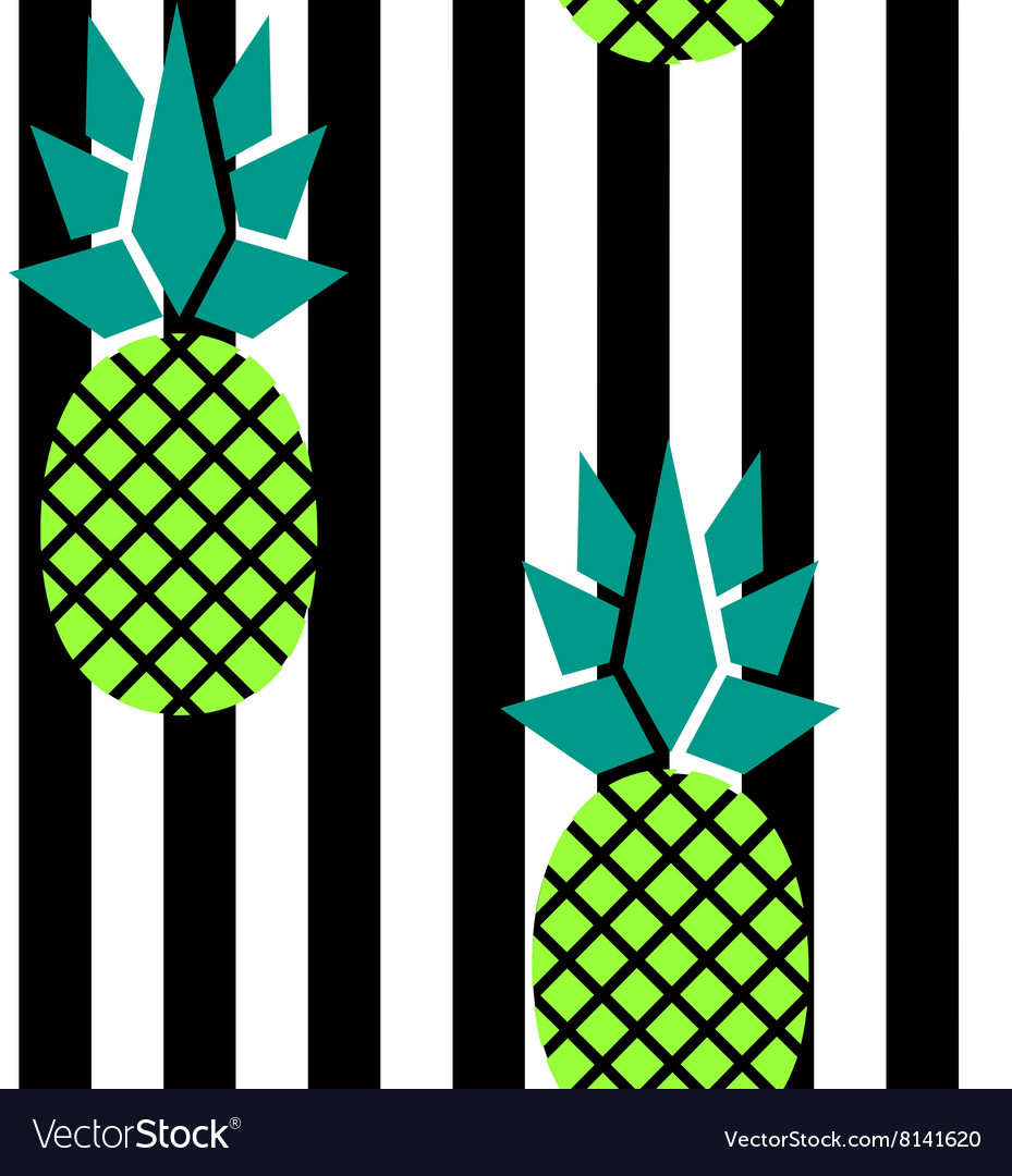 Modern stripes and pineapples pattern vector image