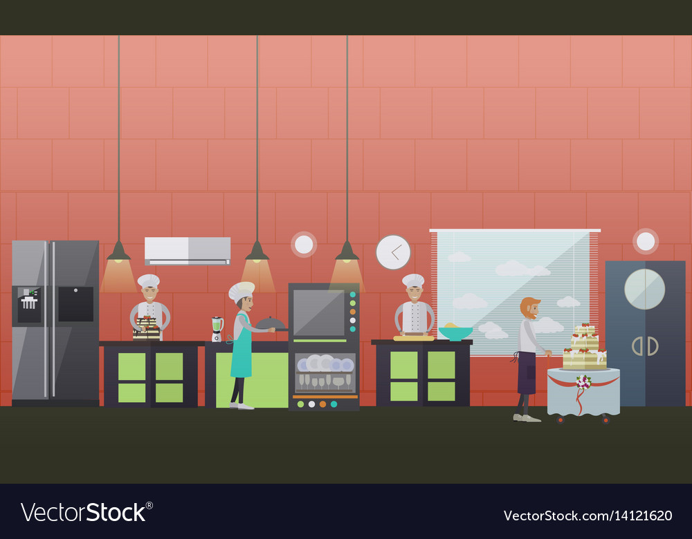 Sweet pastry in flat style vector image