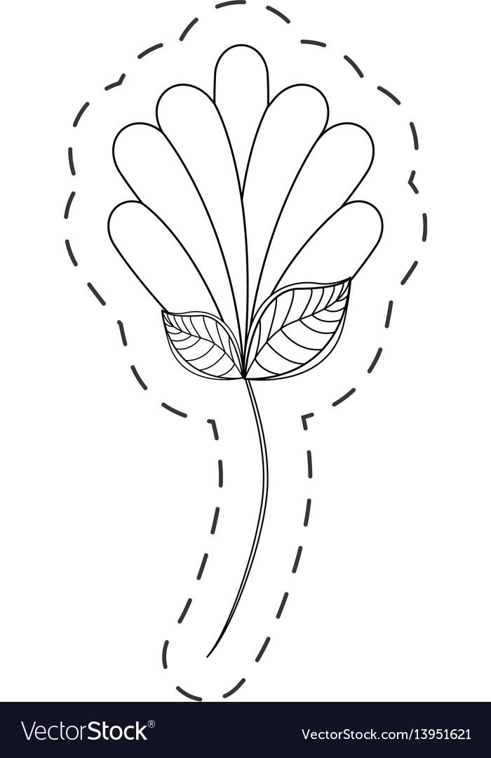 Flower decoration natural cut line vector image