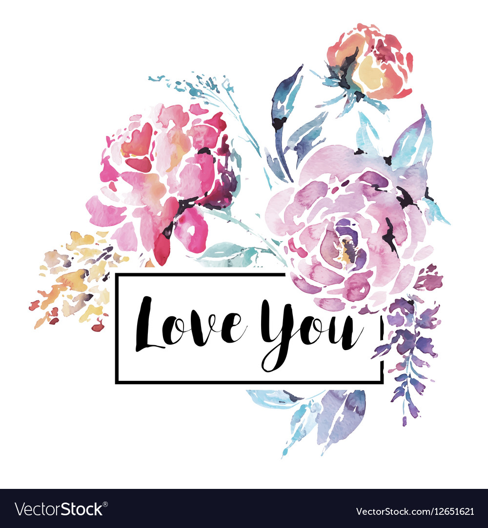 Watercolor floral bouquet of red roses vector image