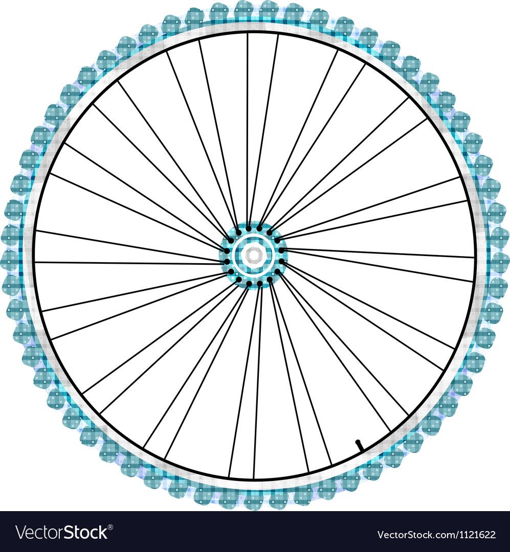 Bike wheel isolated on white background vector image