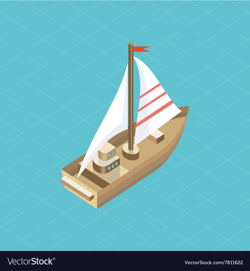 Yacht at Sea Isolated Icon Isometric vector image