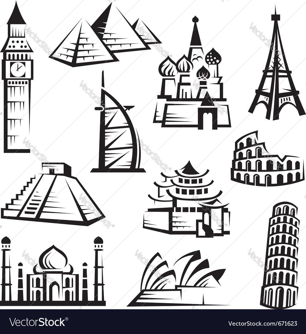 Set of landmarks Vector Image