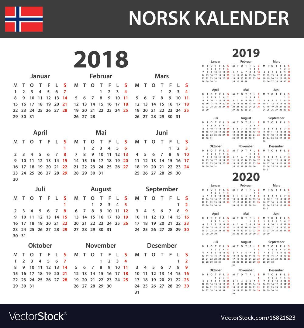 norwegian calendar for 2018 2019 and 2020 vector image. Black Bedroom Furniture Sets. Home Design Ideas