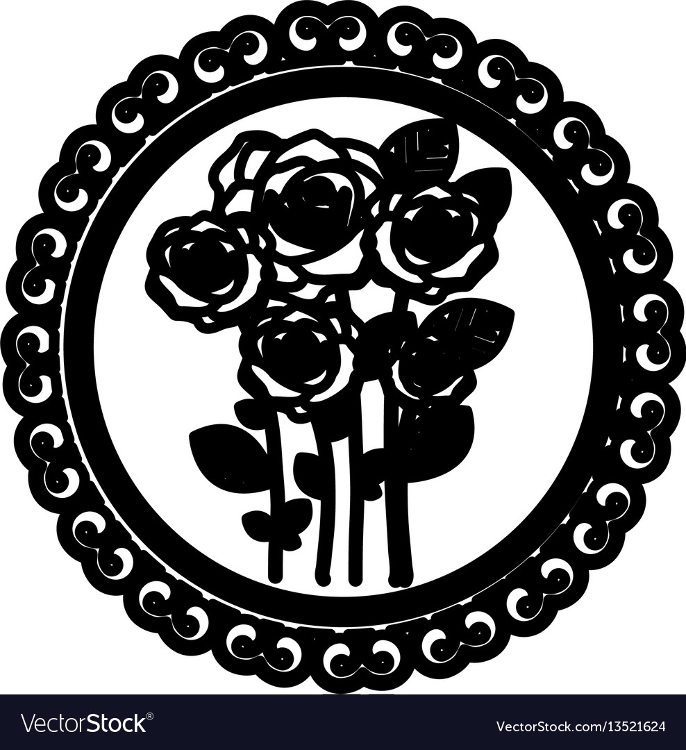 Decorative emblem with oval roses inside icon vector image