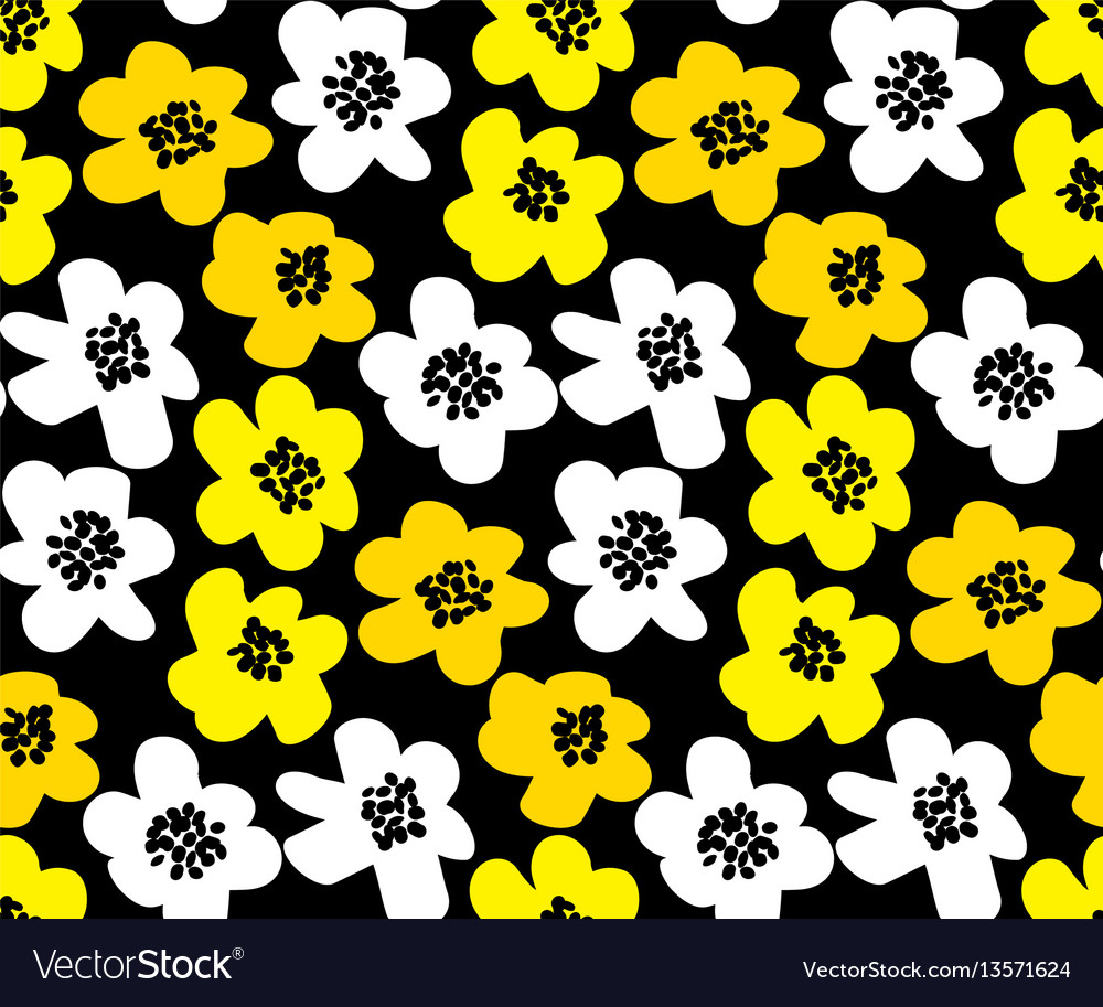 Vivid color summer floral in retro 60s style vector image