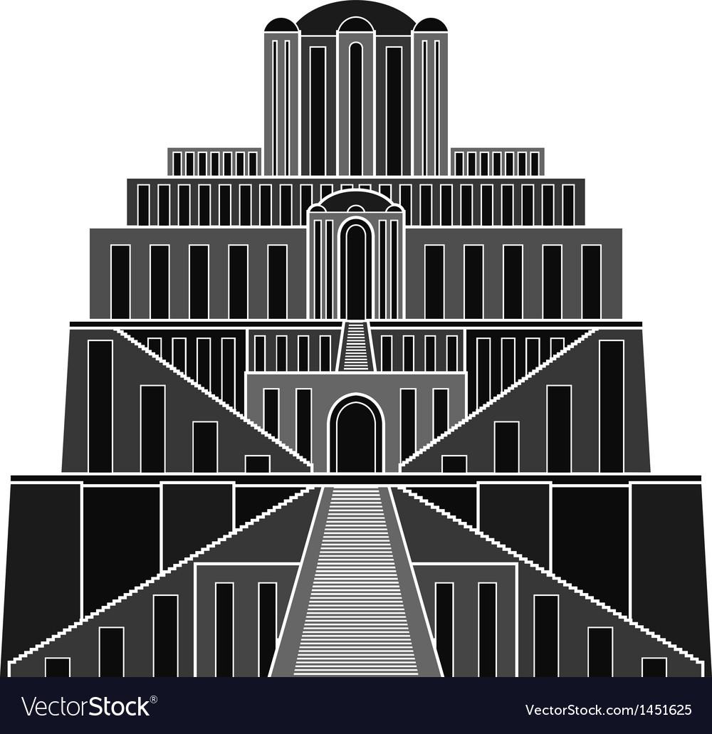 Stencil of ziggurat vector image