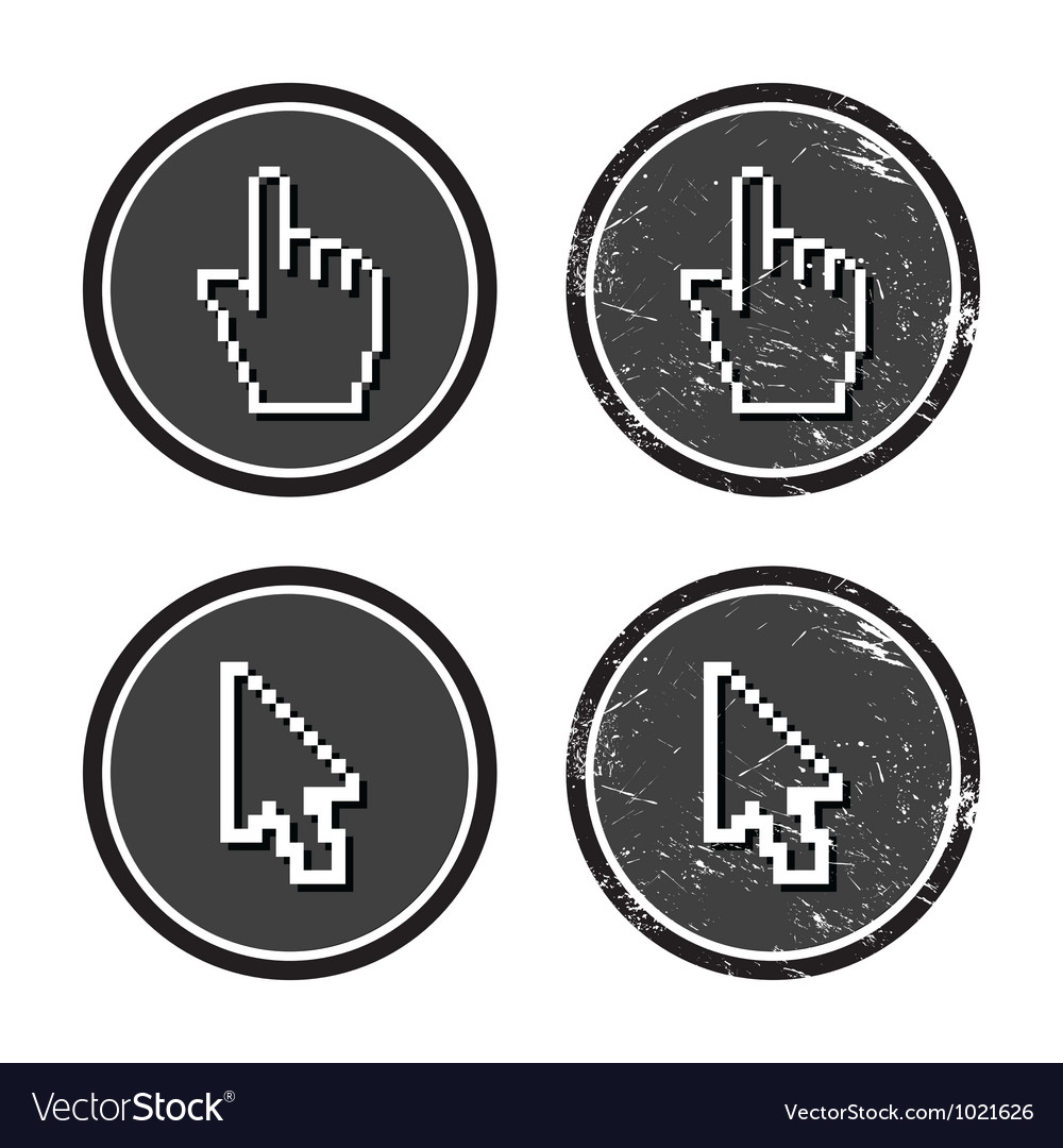 Cursors hand and arrow on retro label vector image