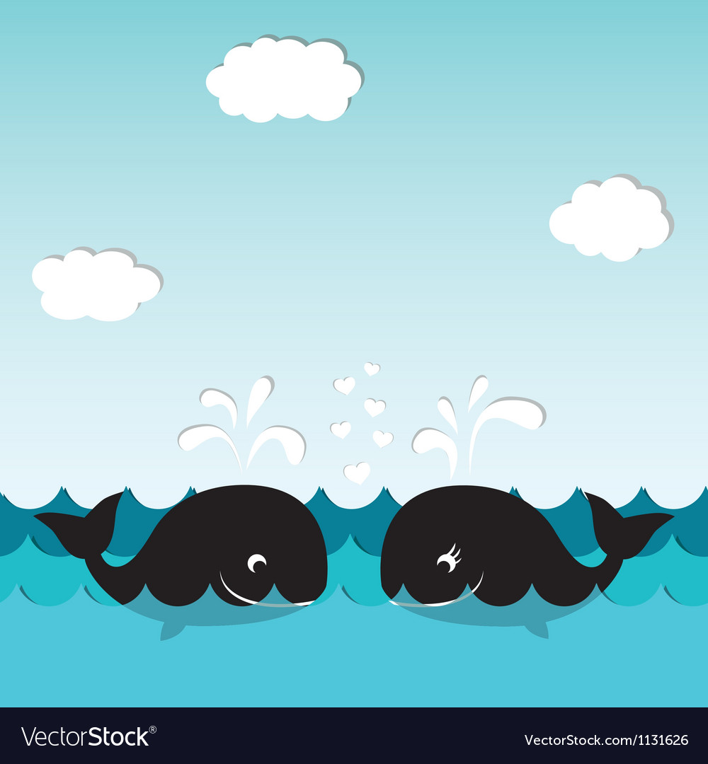 Card with whales vector image