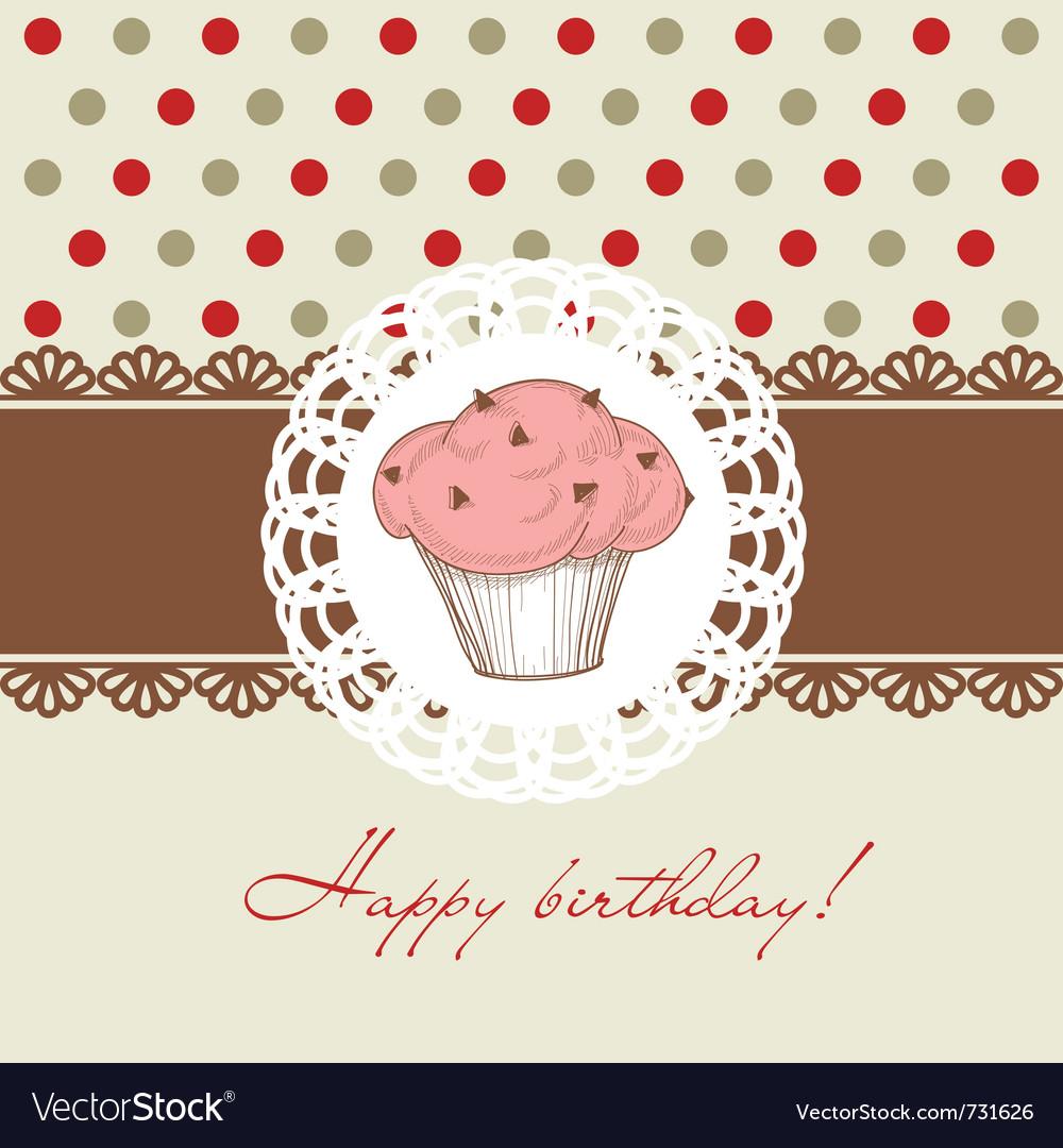 Birthday cupcake vector image