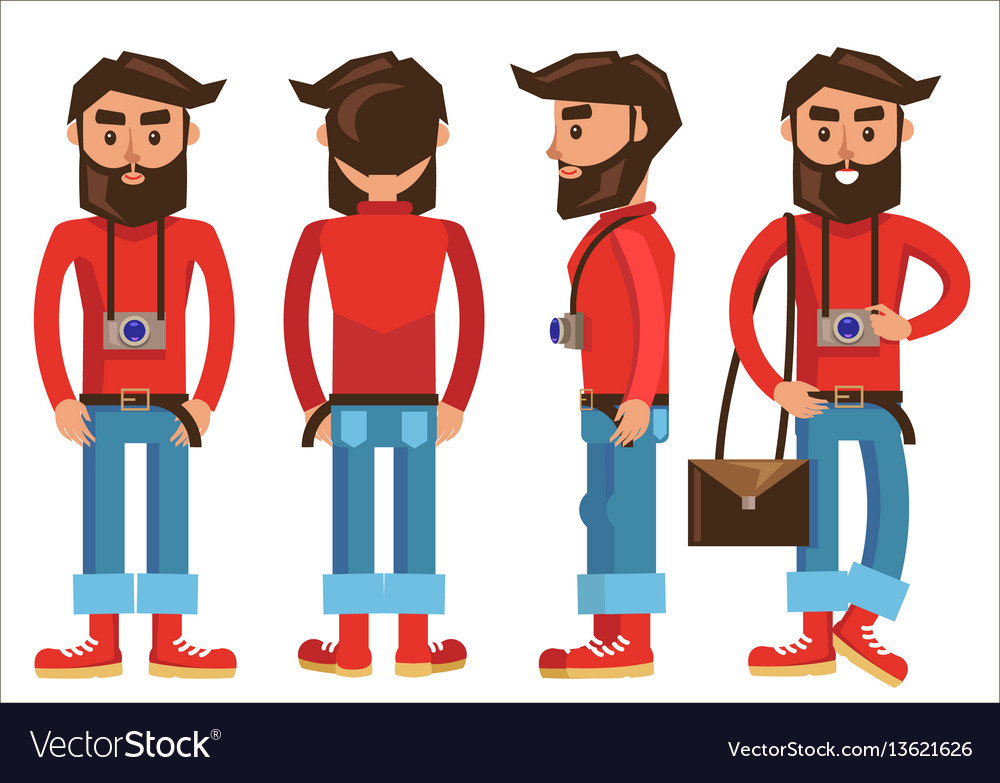 Photographer with hanging camera in various poses vector image