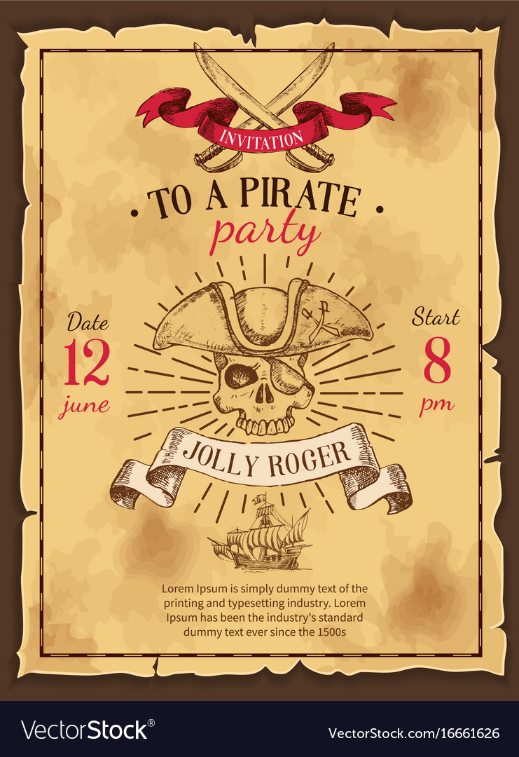 Pirate party drawn poster vector image