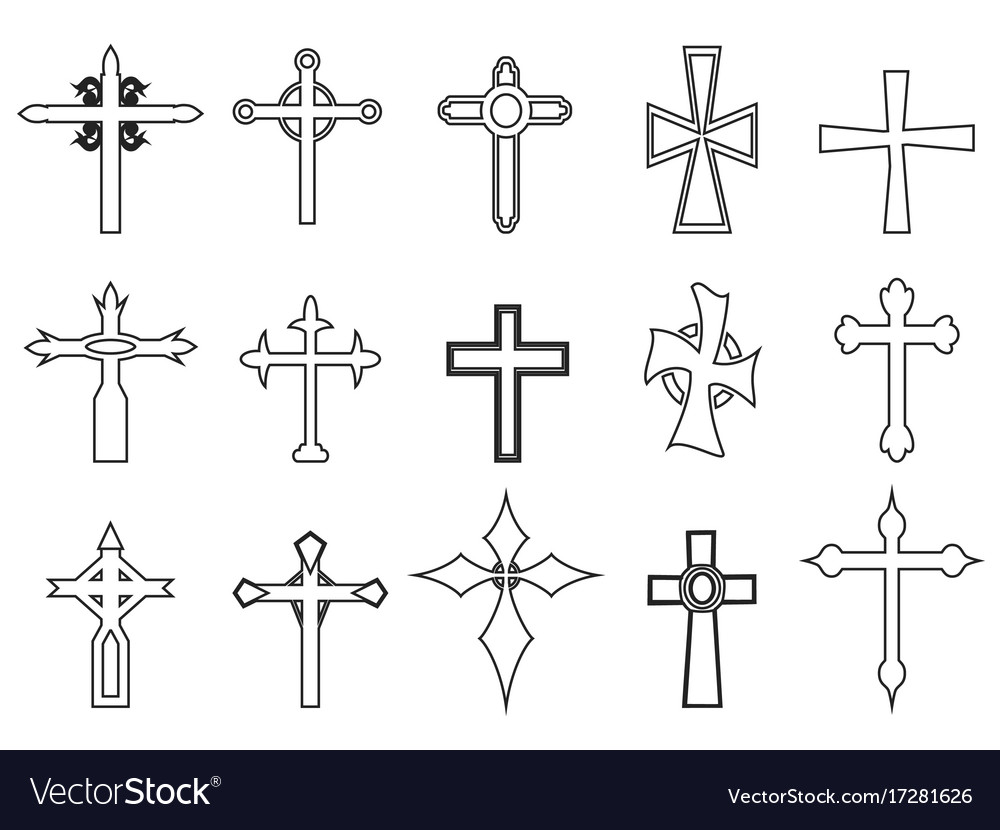Religious cross outline icons vector image